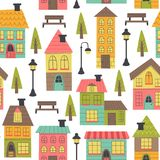 Seamless pattern with houses on white background. Vector illustration, eps stock illustration