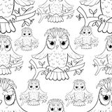 Seamless pattern howlet bird with raised wings. Stock Photo