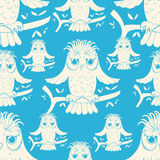 Seamless pattern howlet bird with raised wings. vector illustrat Royalty Free Stock Images