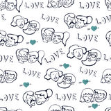 Seamless pattern with human faces. Couples in love. Royalty Free Stock Photography