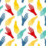 Seamless pattern with human hands. Colorful bright backround vector illustration
