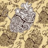Seamless pattern with human heart with key and steampunk mechanical parts Royalty Free Stock Photos