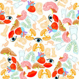 Seamless pattern with a human heart organ, lungs, liver, brain, Royalty Free Stock Image