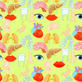 Seamless pattern with a human heart organ, lungs, liver, eyes, e Royalty Free Stock Photo