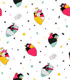 Seamless pattern with human hearts pop. Simple pattern can be used for the cover, fabric, poster Royalty Free Stock Image