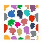 Seamless pattern of human profiles. Royalty Free Stock Photography