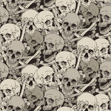 Seamless pattern with human skulls and bones illustration Stock Images