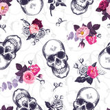 Seamless pattern with human skulls and half colored bunches of flowers in woodcut style and baroque ornament on Royalty Free Stock Photography