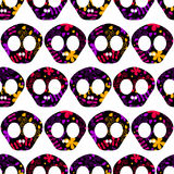 Seamless pattern with human skulls Royalty Free Stock Photo