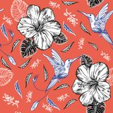 Seamless pattern with hummingbirds and tropical flowers vector illustration