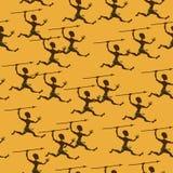 Seamless pattern of hunting aborigines Stock Photo