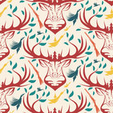 Seamless pattern for hunting theme. deer, duck, gun, bird  Stock Images