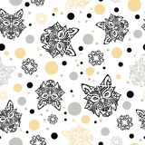 Seamless pattern with husky dog`s head stylized Maori face tattoo, circles and stars Stock Photos