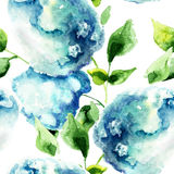 Seamless pattern with Hydrangea blue flowers Stock Photos