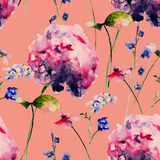 Seamless pattern with Hydrangea flowers Royalty Free Stock Images