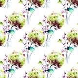 Seamless pattern with Hydrangea flowers. Watercolor illustration Stock Image