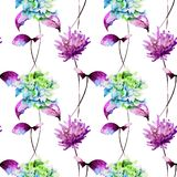 Seamless pattern with Hydrangea and Gerber flowers. Watercolor illustration Royalty Free Stock Photo