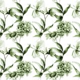 Seamless pattern with Hydrangea, Hibiscus and Cosmea flowers. Watercolor illustration Stock Photo