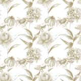 Seamless pattern with Hydrangea, Hibiscus and Rose flowers. Watercolor illustration Royalty Free Stock Image