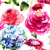 Seamless pattern with Hydrangea and Peony flowers Royalty Free Stock Image