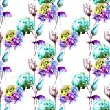 Seamless pattern with Hydrangea and Tulips flowers. Watercolor illustration Stock Photos