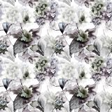 Seamless pattern with Hydrangea and Violet flowers. Watercolor illustration Royalty Free Stock Photography