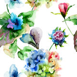 Seamless pattern with Hydrangea and Violet flowers Stock Image