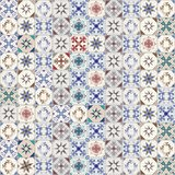 Seamless pattern of hydraulic tiles, typical of Spain, Italy and Portugal Royalty Free Stock Photo