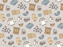 Seamless pattern with Hygge concept and cozy home things like candles, socks, blanket, tea, fireplace. Danish living concept. Vector wallpaper Royalty Free Stock Images