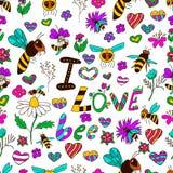 Seamless pattern I love bee Stock Photo