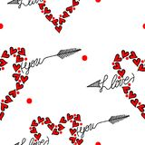 Seamless pattern with I love you text in heart form Stock Photo