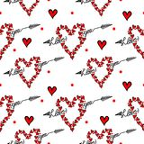 Seamless pattern with I love you text and red heart  on Stock Photography