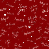 Seamless pattern with I love you text in various languages Royalty Free Stock Photo