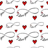 Seamless pattern with I love you text  on the white back Stock Photos