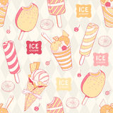 Seamless pattern with ice cream Stock Images