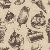 Seamless pattern with ice cream and cakes Royalty Free Stock Photos