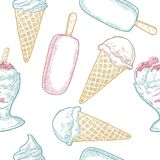 Seamless pattern with ice cream. Vector vintage black engraving Royalty Free Stock Photo