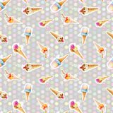 Seamless pattern with ice cream cones on background of colored c Royalty Free Stock Photography