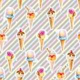Seamless pattern with ice cream cones on background with colorfu Stock Photos