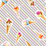 Seamless pattern with ice cream cones on background Stock Photography