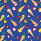 Seamless pattern with  ice cream cones, candies and berries. Raster clip art Stock Photos