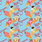 Seamless pattern with Ice cream cones with glaze, Chocolate, str Stock Photography