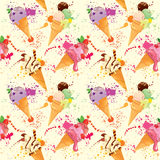 Seamless pattern with Ice cream cones with glaze, Chocolate Stock Image