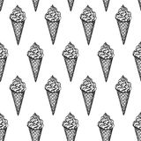 Seamless pattern with ice cream cones. Hand drawn vector illustration Royalty Free Stock Photo