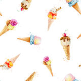 Seamless pattern with ice cream cones isolated on white backgrou Royalty Free Stock Image