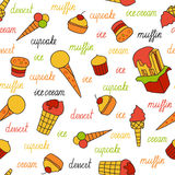 Seamless pattern of ice cream and cupcakes Royalty Free Stock Images