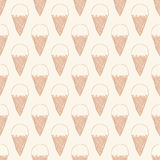 Seamless pattern with ice cream. Cute background in vintage retro style. Royalty Free Stock Images