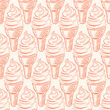 Seamless pattern with ice-cream Stock Images