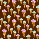 Seamless pattern with ice cream on dark background. Vector summer print for textile and stationery design Royalty Free Stock Photos