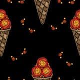Seamless pattern Ice cream embroidery stitches imitation Royalty Free Stock Photo